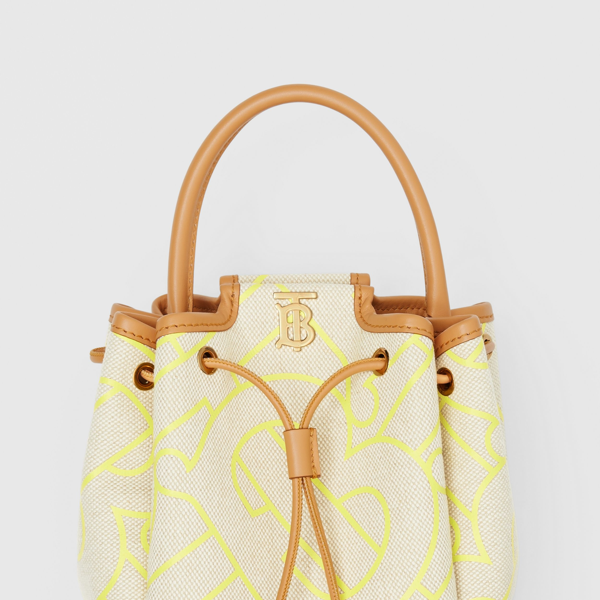 Monogram Motif Canvas and Leather Bucket Bag in Natural/yellow - Women | Burberry - 2