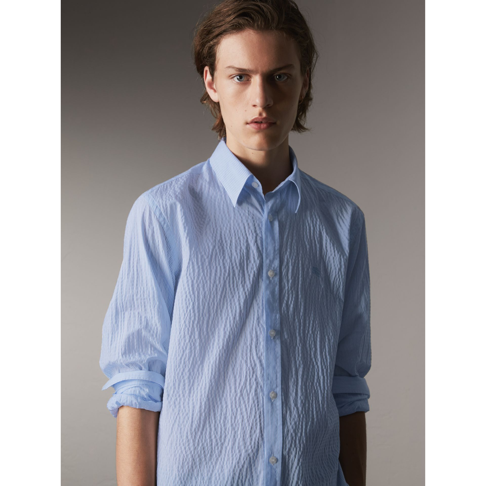 Striped Seersucker Stretch Cotton Shirt - Men | Burberry - gallery image 1