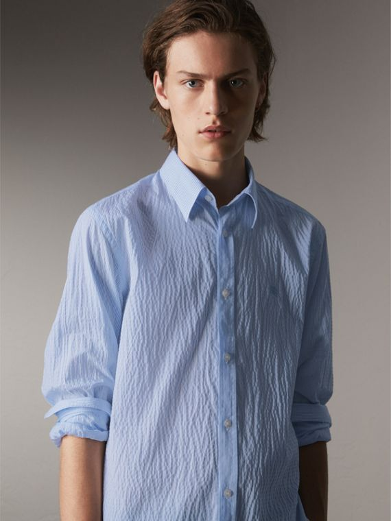 Striped Seersucker Stretch Cotton Shirt in Light Blue