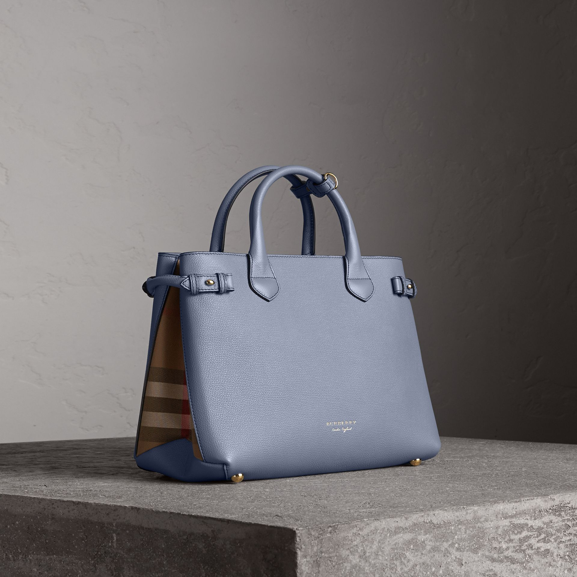 The Medium Banner in Leather and House Check in Slate Blue - Women | Burberry United Kingdom - gallery image 0