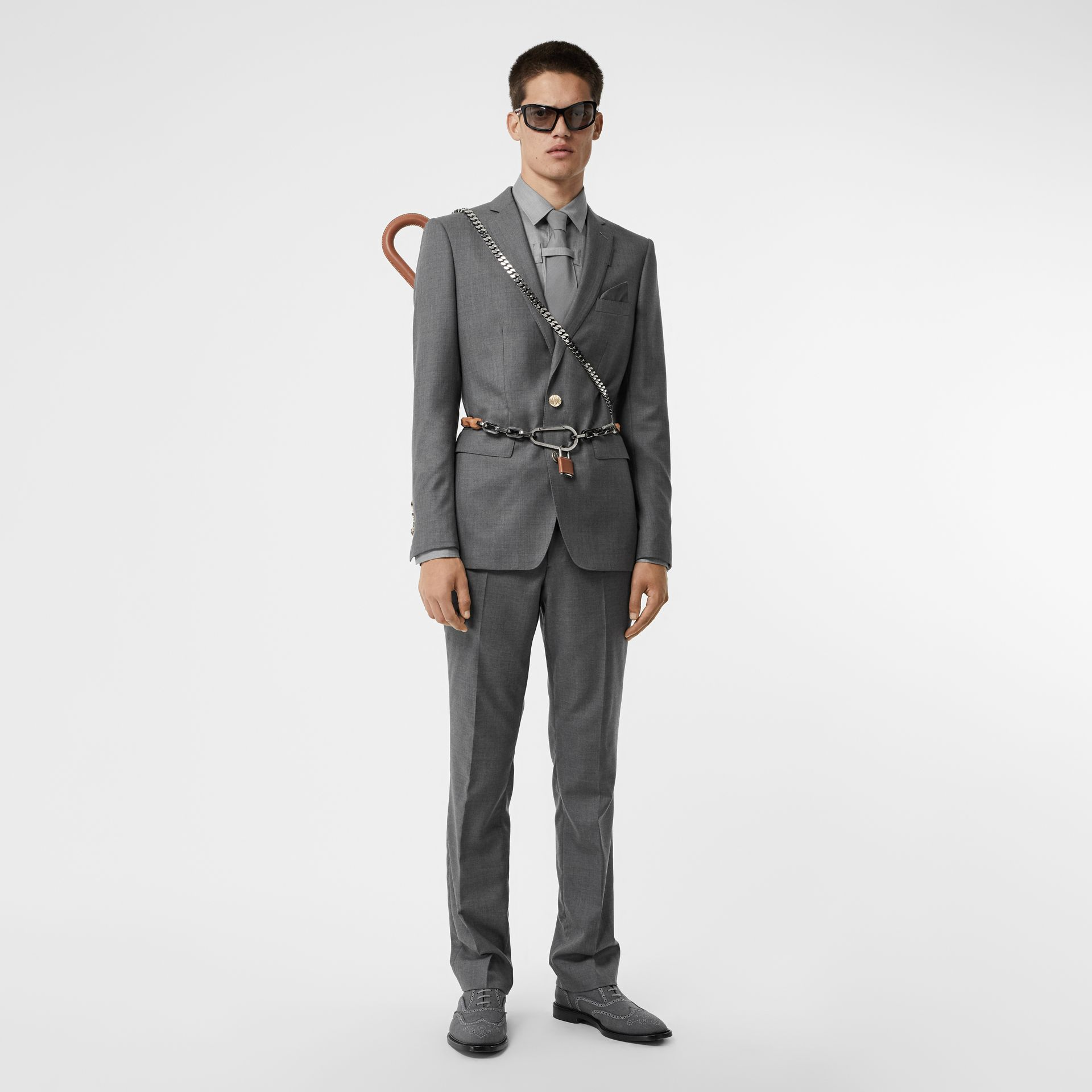 English Fit Metal Button Wool Tailored Jacket in Light Grey | Burberry Singapore - gallery image 8
