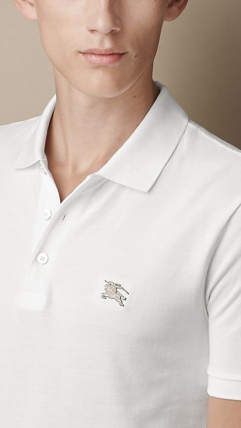 Blanc Polo en jersey de coton double teinte - Image 3