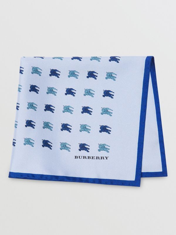 Equestrian Knight Print Silk Pocket Square in Light Blue - Men | Burberry - cell image 3