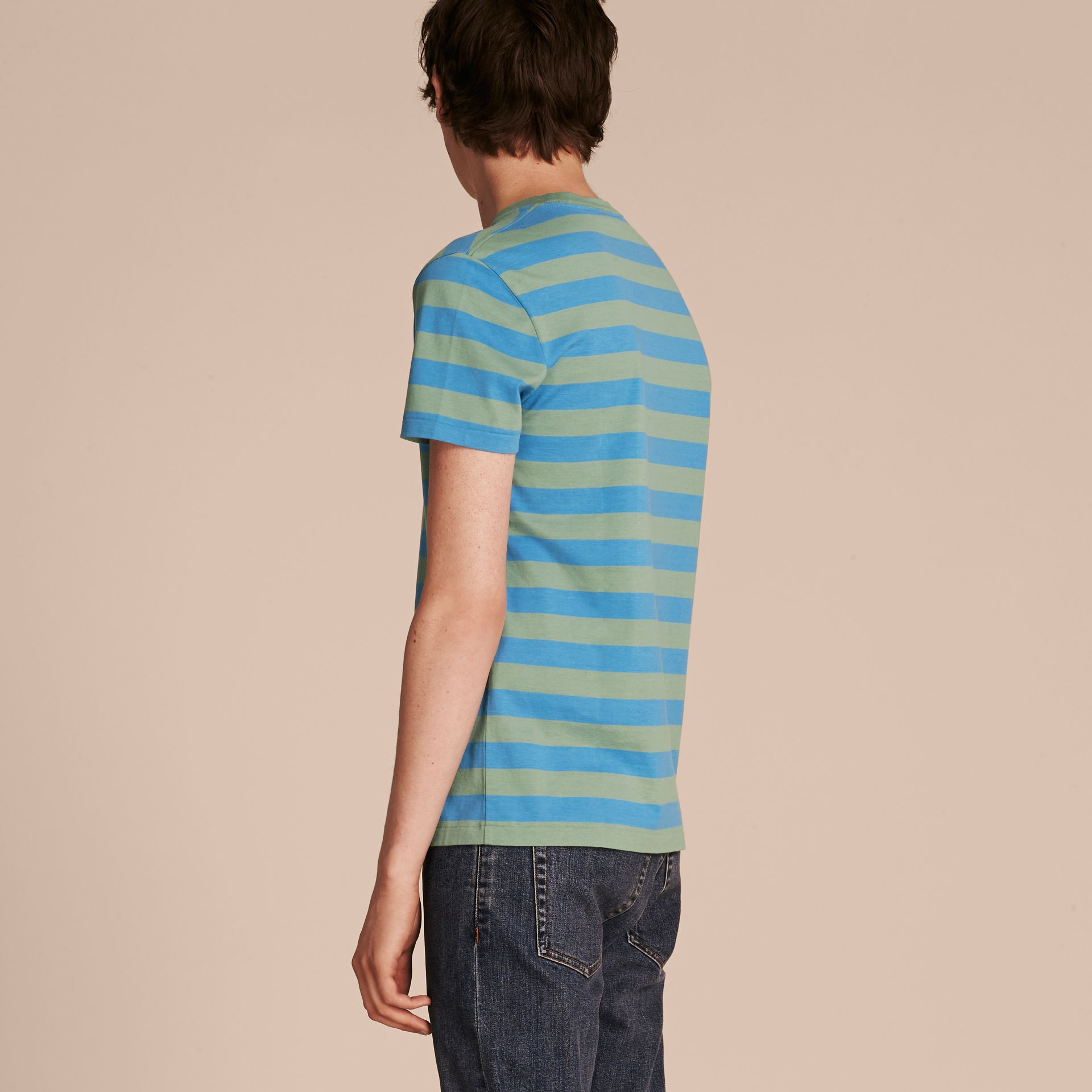 Striped Cotton T-Shirt Eucalyptus Green/chalk Blue - gallery image 3
