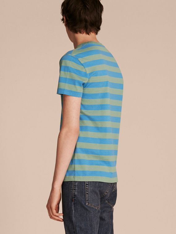 Striped Cotton T-Shirt Eucalyptus Green/chalk Blue - cell image 2