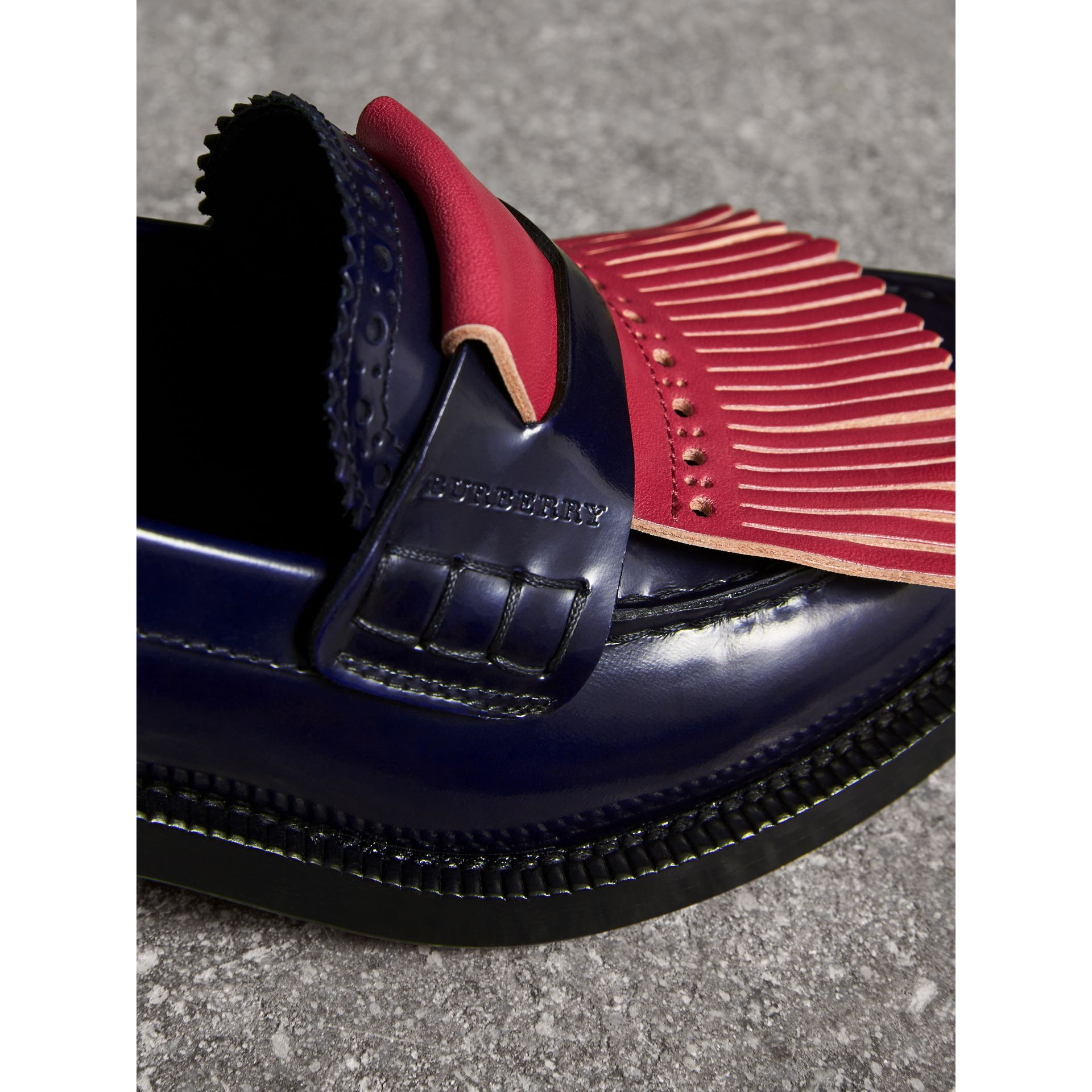 Contrast Kiltie Fringe Leather Block-heel Loafers in Navy - Women | Burberry - gallery image 1