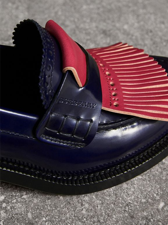 Contrast Kiltie Fringe Leather Block-heel Loafers in Navy - Women | Burberry - cell image 1