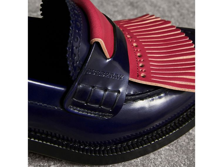 Contrast Kiltie Fringe Leather Block-heel Loafers in Navy - Women | Burberry Canada - cell image 1