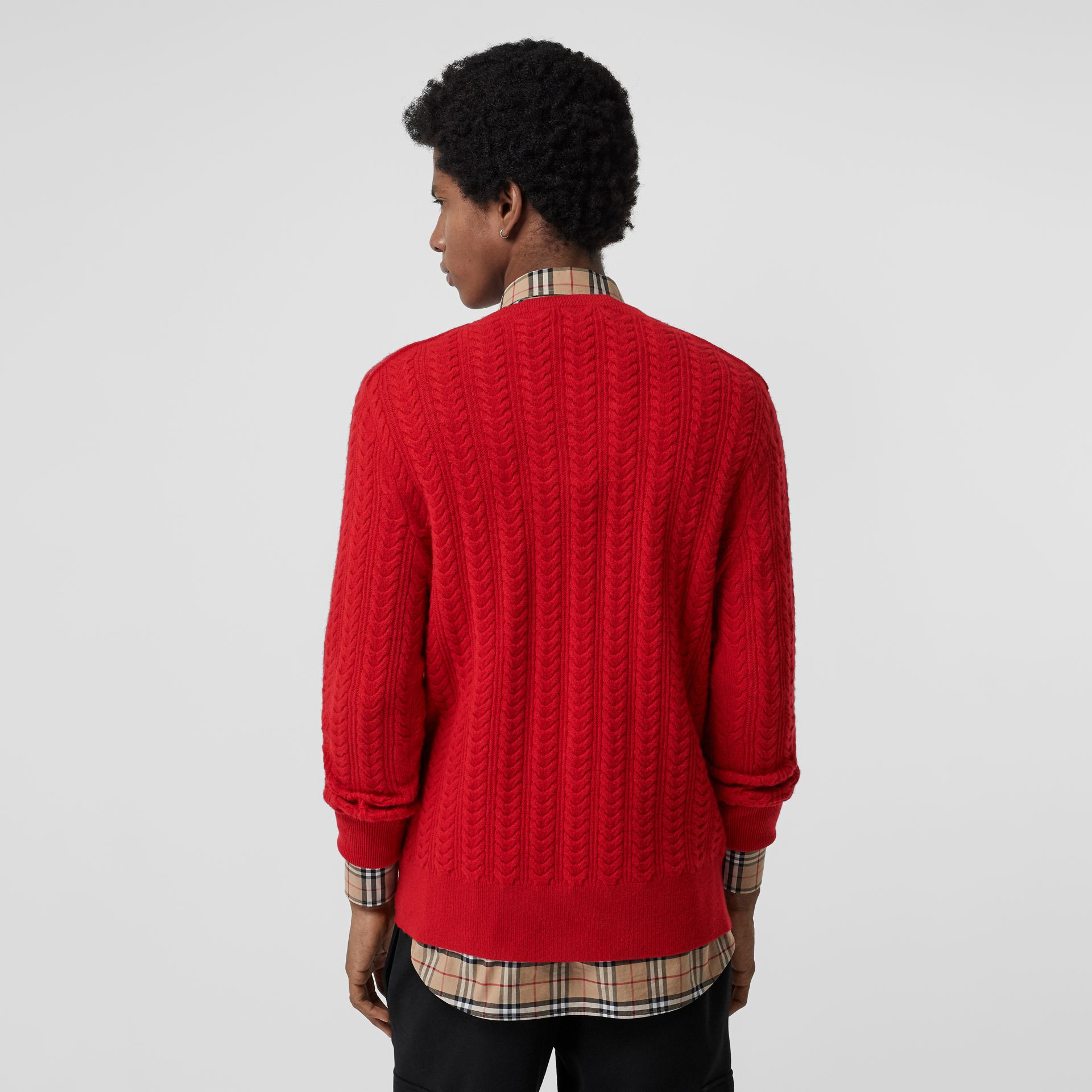 Cable Knit Cashmere Sweater in Military Red - Men | Burberry - gallery image 2