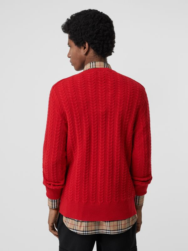 Cable Knit Cashmere Sweater in Military Red - Men | Burberry - cell image 2