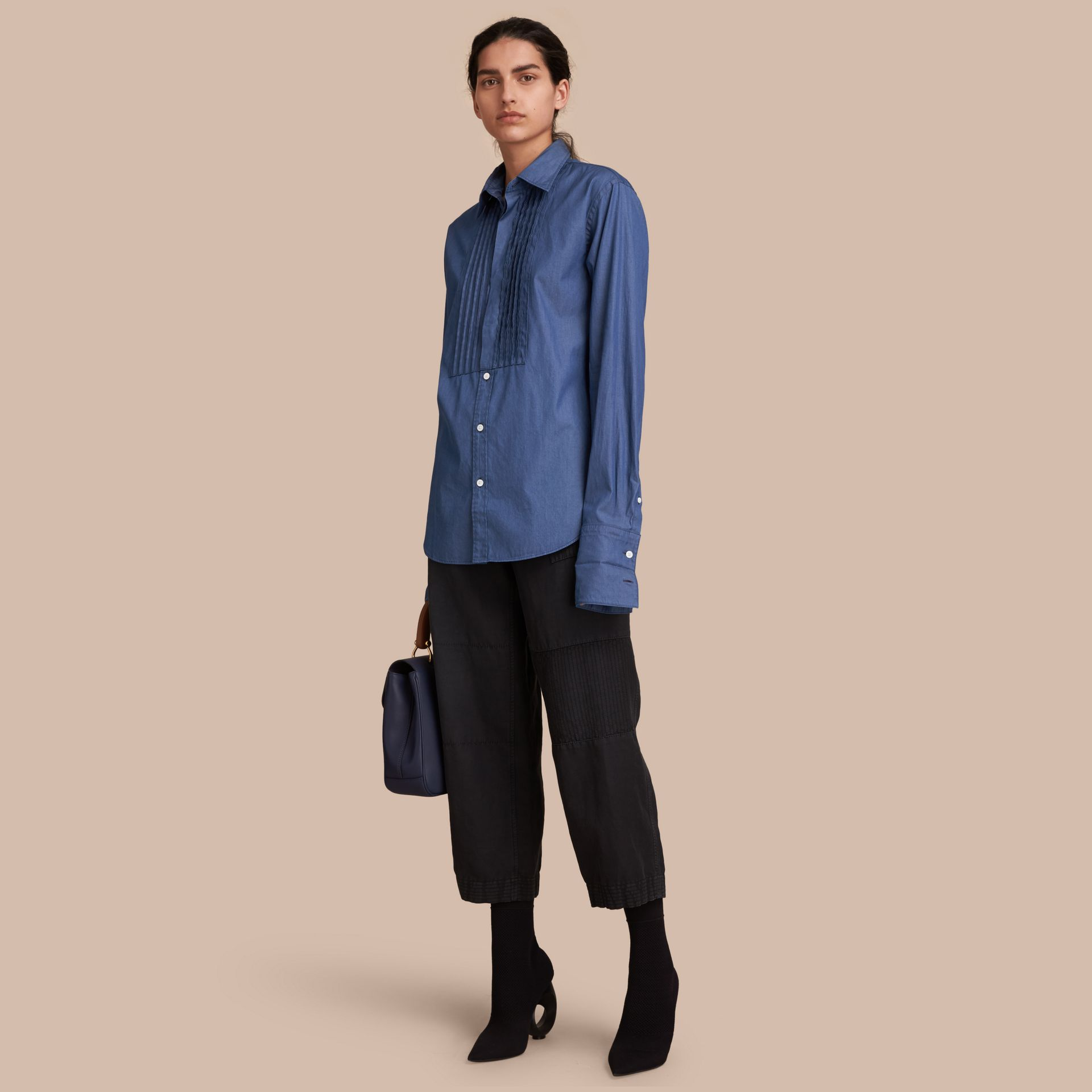 Unisex Double-cuff Pintuck Bib Cotton Shirt in Denim Blue - Women | Burberry Singapore - gallery image 1