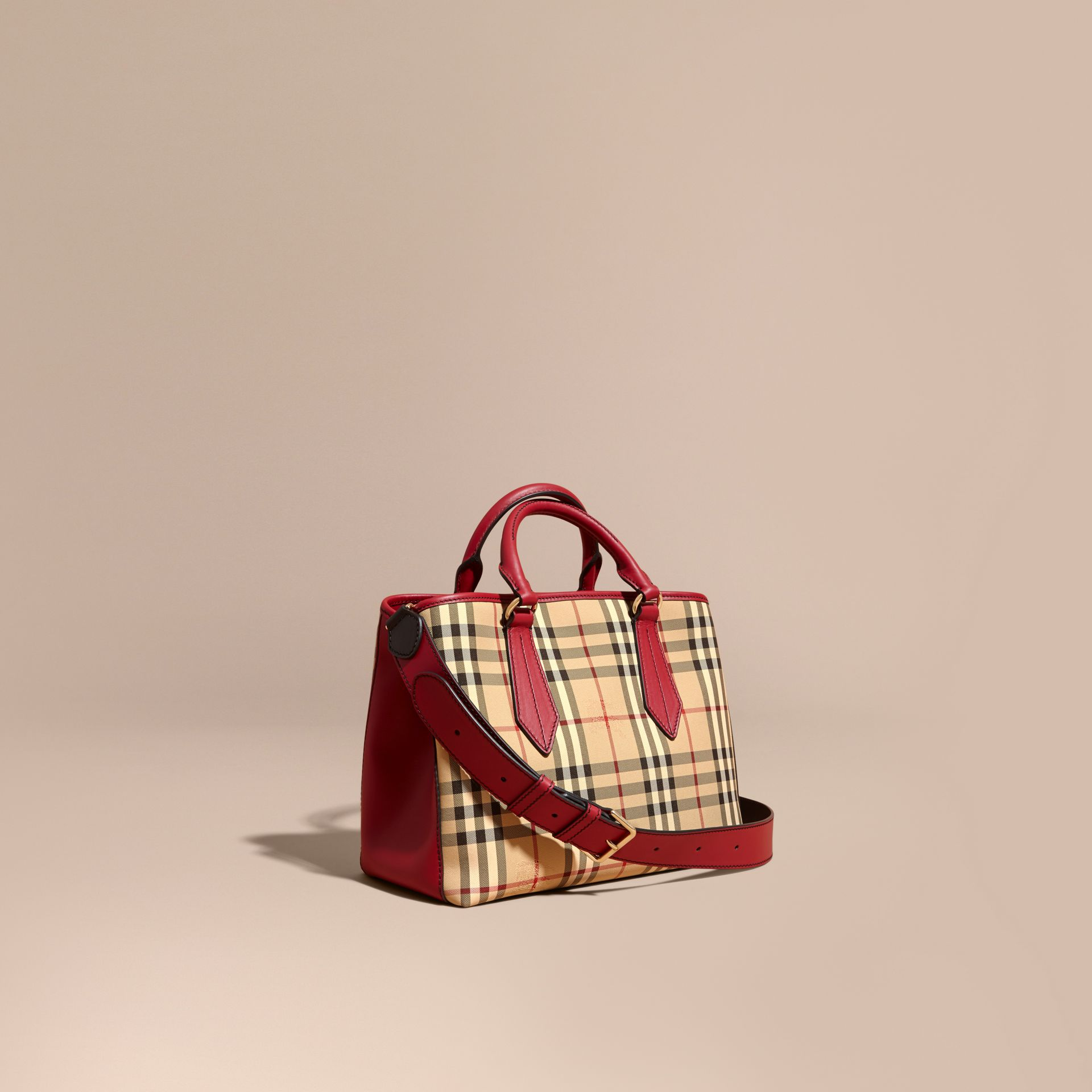 Leather Trim Horseferry Check Tote in Honey/parade Red - gallery image 1