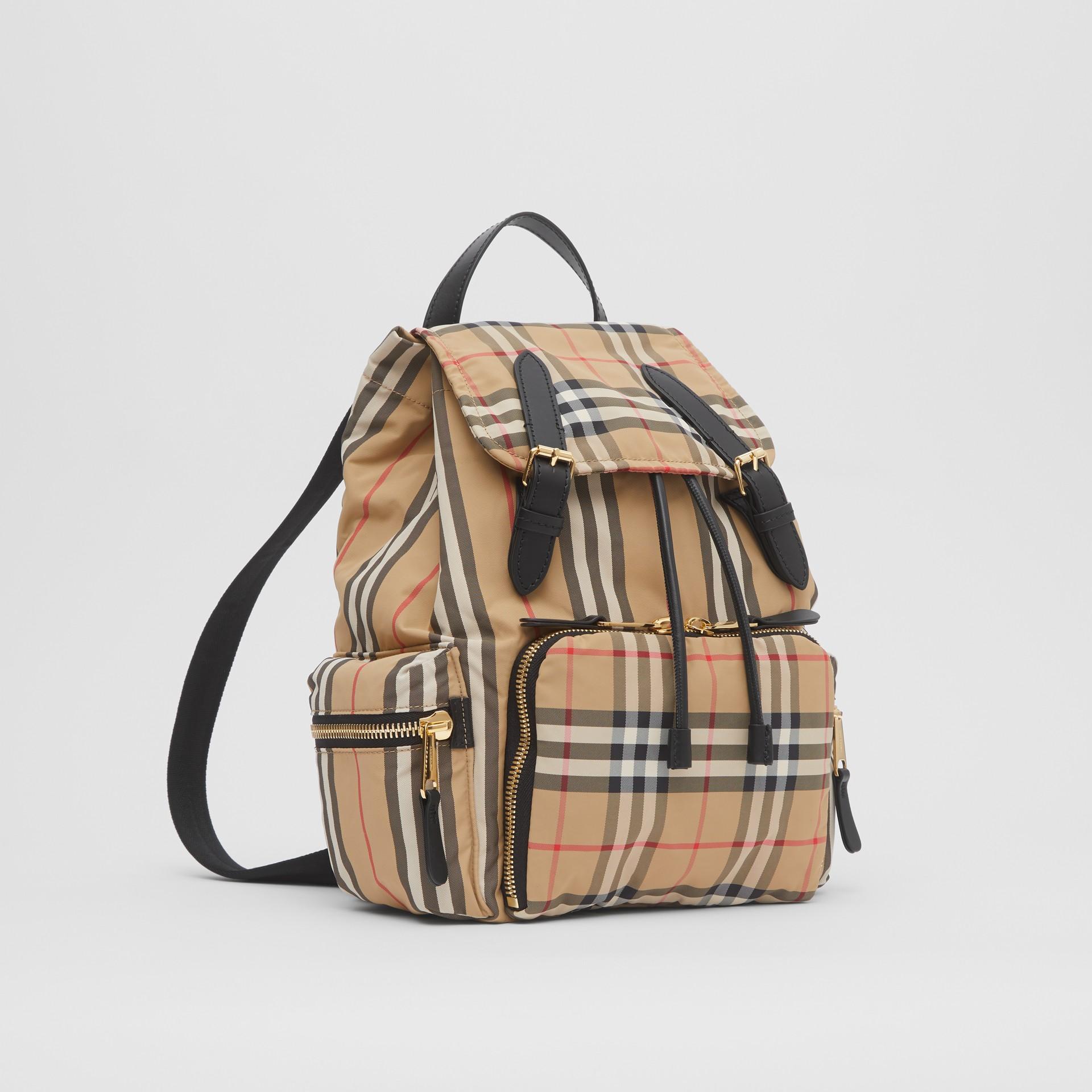 The Medium Rucksack in Vintage Check ECONYL® in Archive Beige - Women | Burberry - gallery image 8