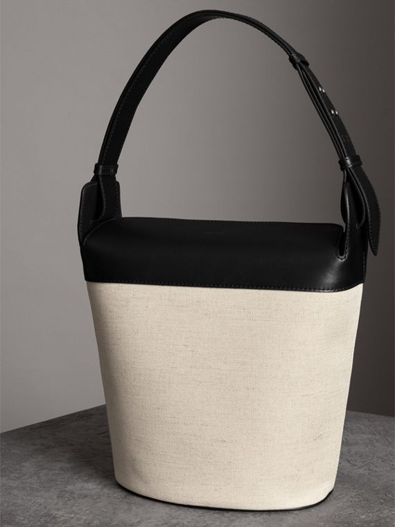 The Large Cotton Linen and Leather Bucket Bag in Black - Women | Burberry - cell image 2