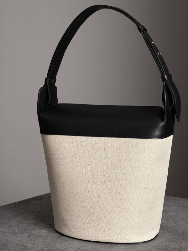The Large Cotton Linen and Leather Bucket Bag in Black - Women | Burberry Canada - cell image 2