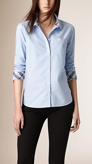 Camisa en algodón con detalles de checks
