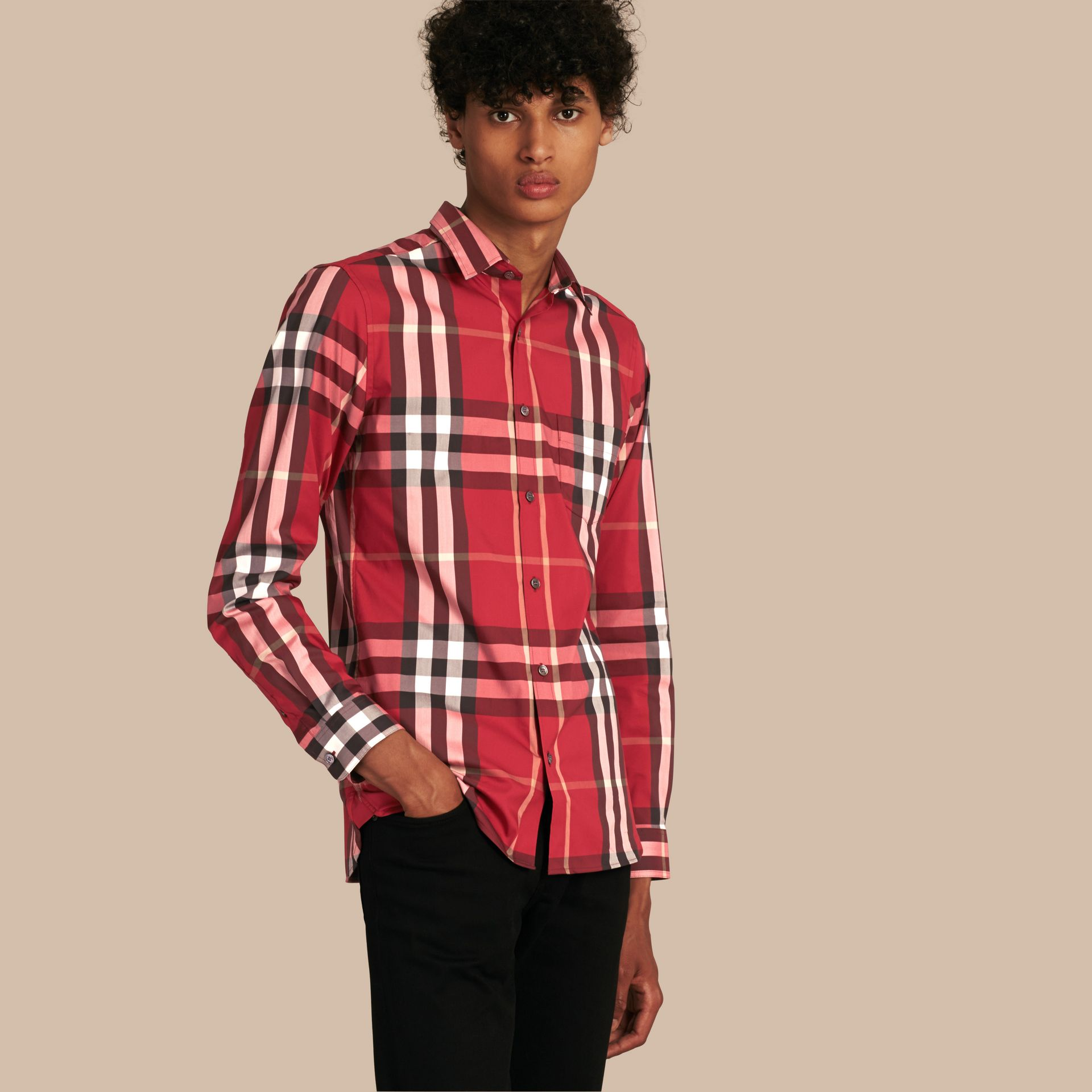 Check Stretch Cotton Shirt in Parade Red - gallery image 1
