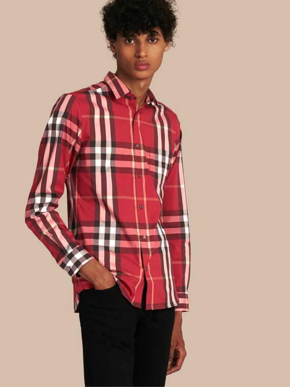 Check Stretch Cotton Shirt Parade Red