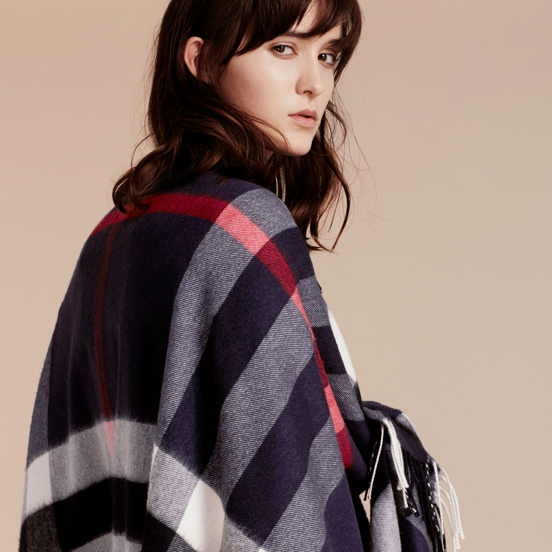 Check Cashmere and Wool Poncho in Navy - Women | Burberry - gallery image 7