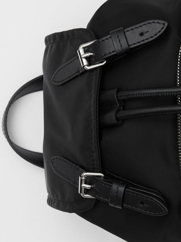 The Small Rucksack in Logo Print ECONYL® in Black - Women | Burberry Canada - cell image 1