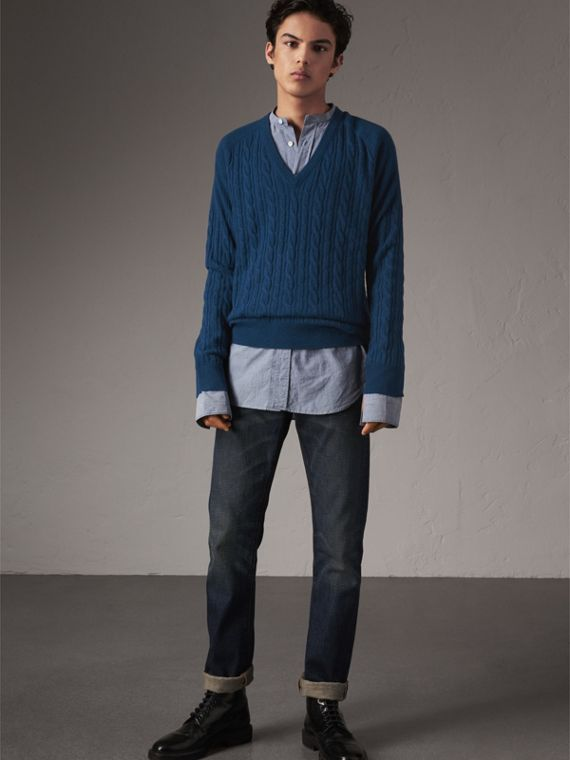 Cable and Rib Knit Cashmere V-neck Sweater in Bright Navy - Men | Burberry Canada