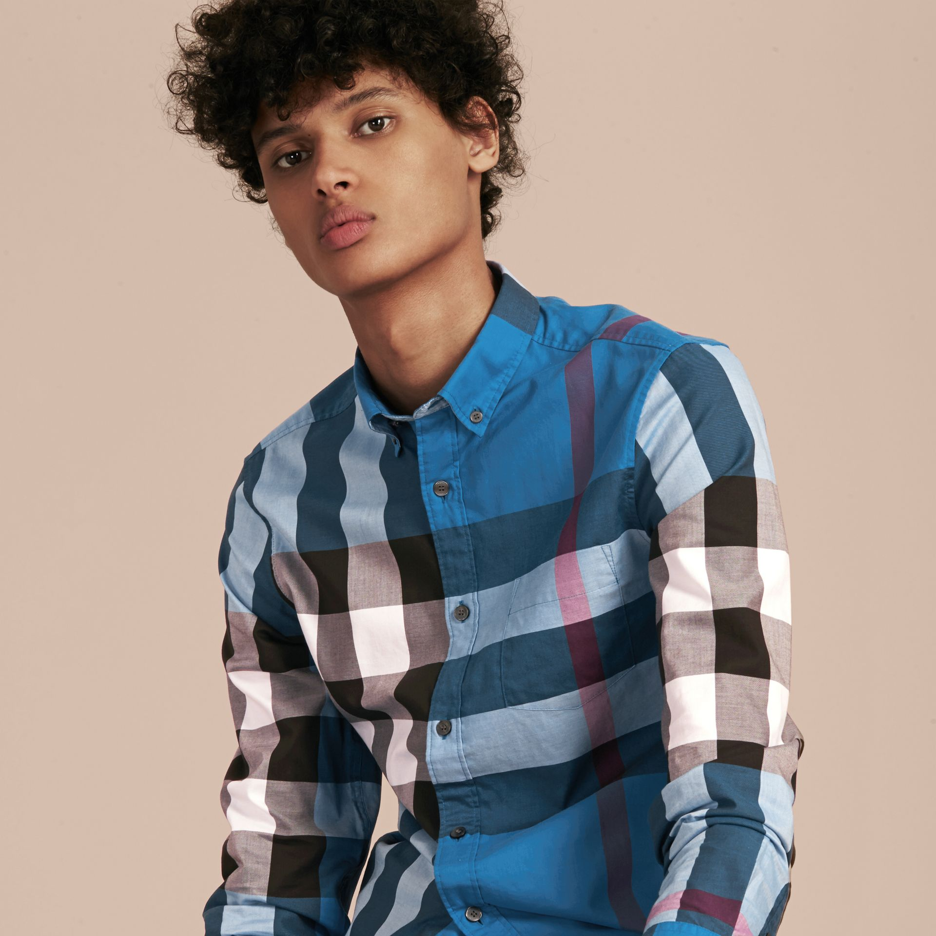 Marine blue Check Cotton Shirt Marine Blue - gallery image 6