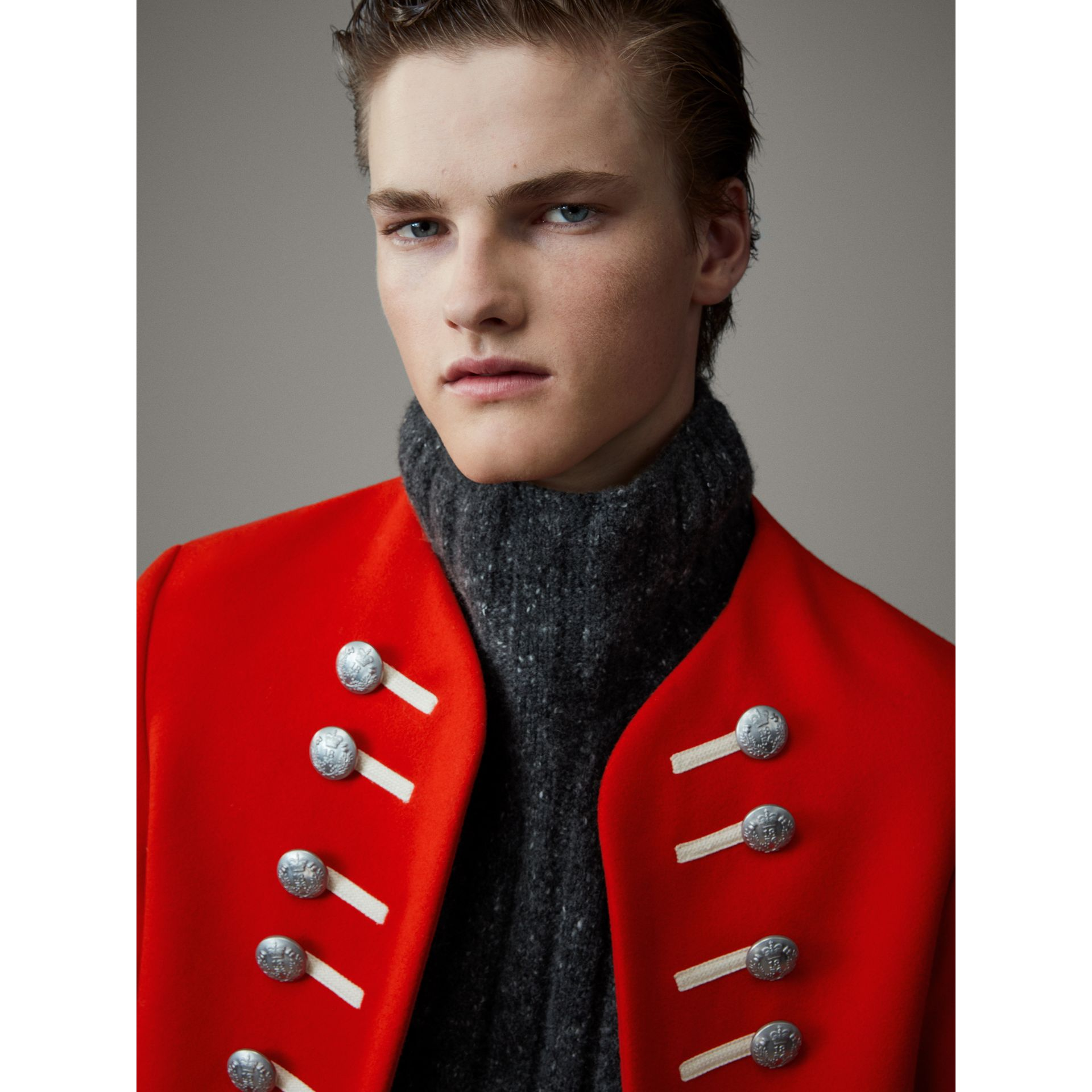 Wool Cropped Ceremonial Jacket in Orange Red - Men | Burberry Australia - gallery image 2