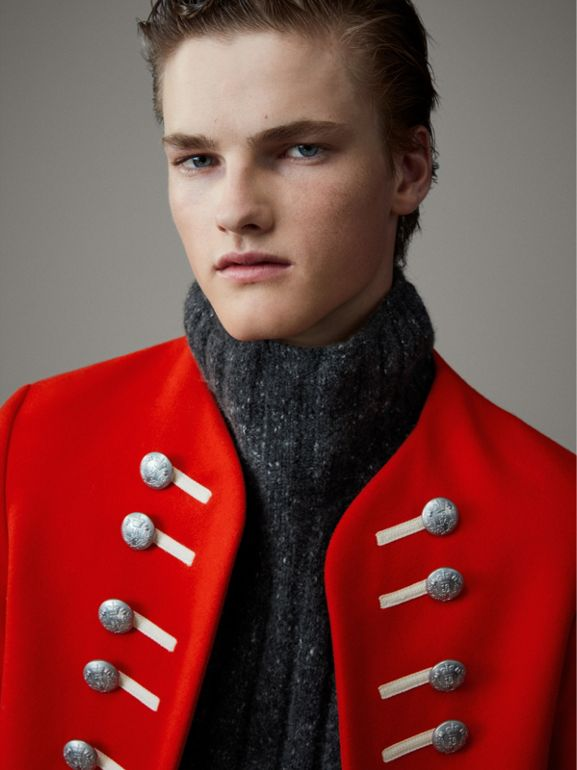 Wool Cropped Ceremonial Jacket in Orange Red - Men | Burberry United Kingdom - cell image 1
