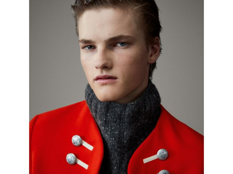 Wool Cropped Ceremonial Jacket in Orange Red - Men | Burberry - cell image 1