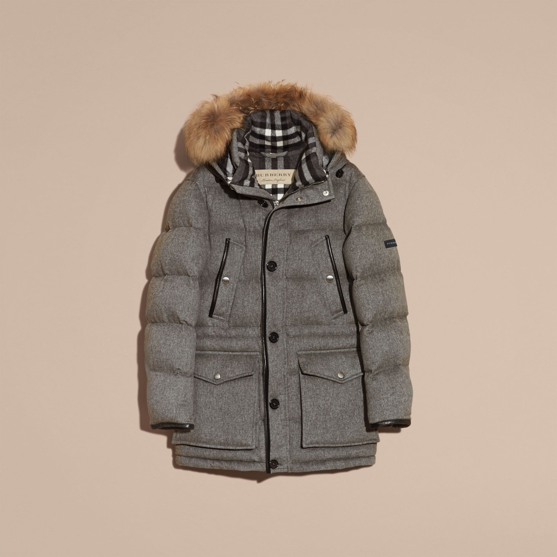 Down-filled Cashmere Parka with Detachable Fur Trim in Mid Grey Melange - gallery image 4