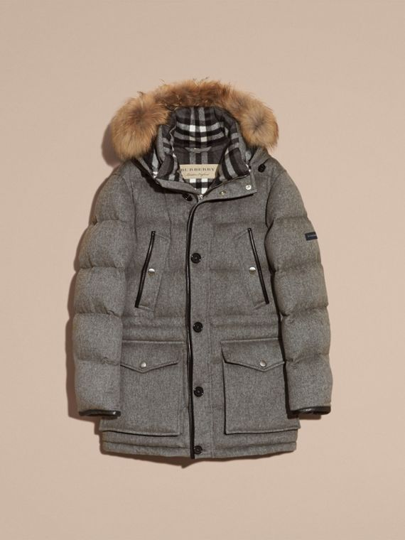 Mid grey melange Down-filled Cashmere Parka with Detachable Fur Trim Mid Grey Melange - cell image 3