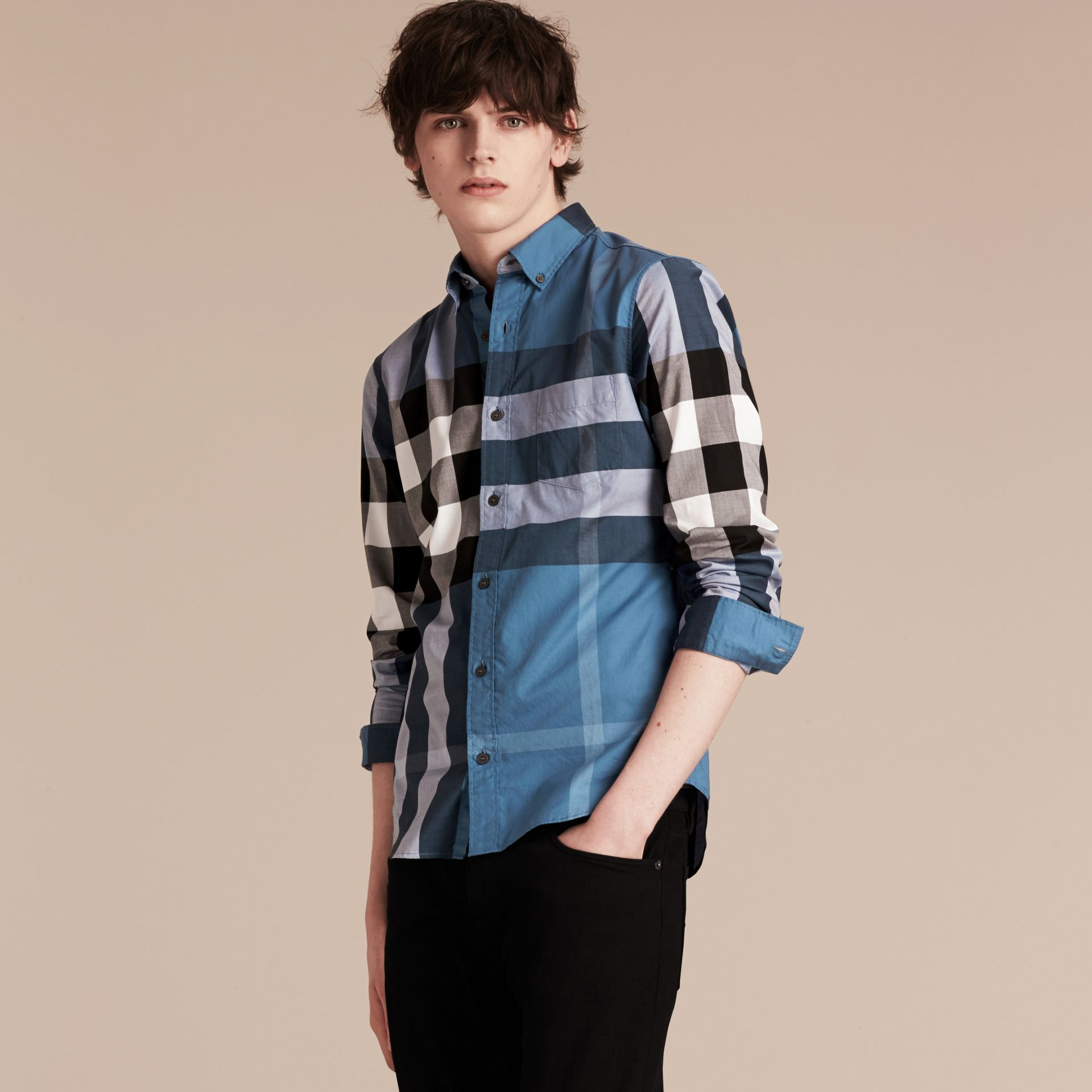 Lupin blue Check Cotton Shirt Lupin Blue - gallery image 6