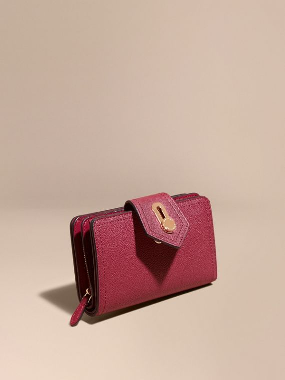 Grainy Leather Wallet Dark Plum