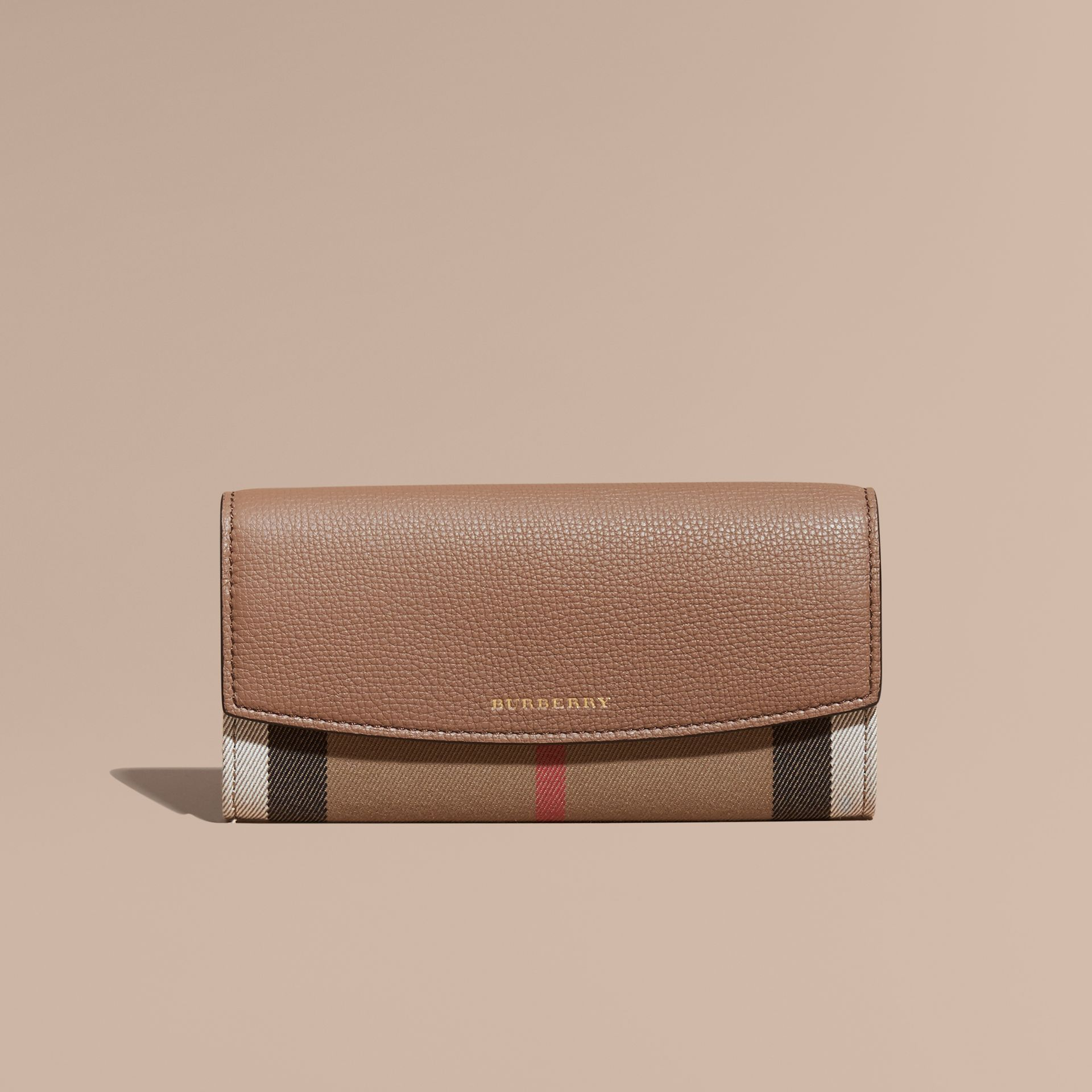 Dark sand House Check And Leather Continental Wallet Dark Sand - gallery image 2