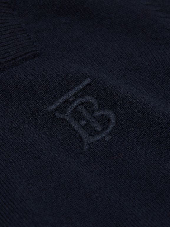 Monogram Motif Cashmere Sweater in Navy | Burberry United Kingdom - cell image 1