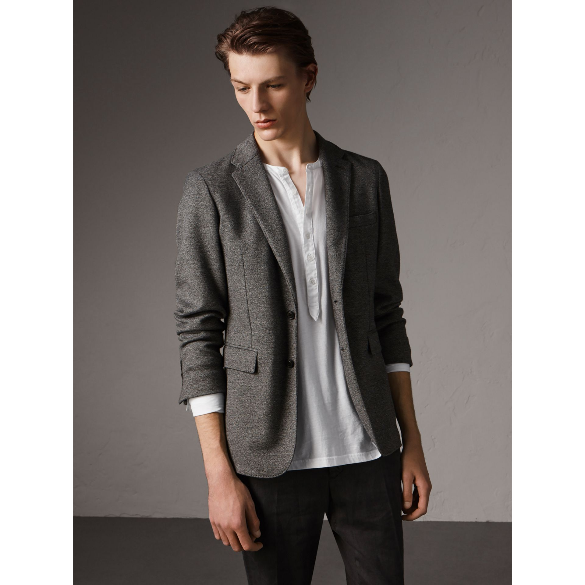 Soho Fit Cotton Wool Jersey Tailored Jacket in Charcoal Melange - Men | Burberry - gallery image 5