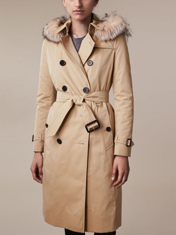 Fur-trimmed Hood Trench Coat with Warmer