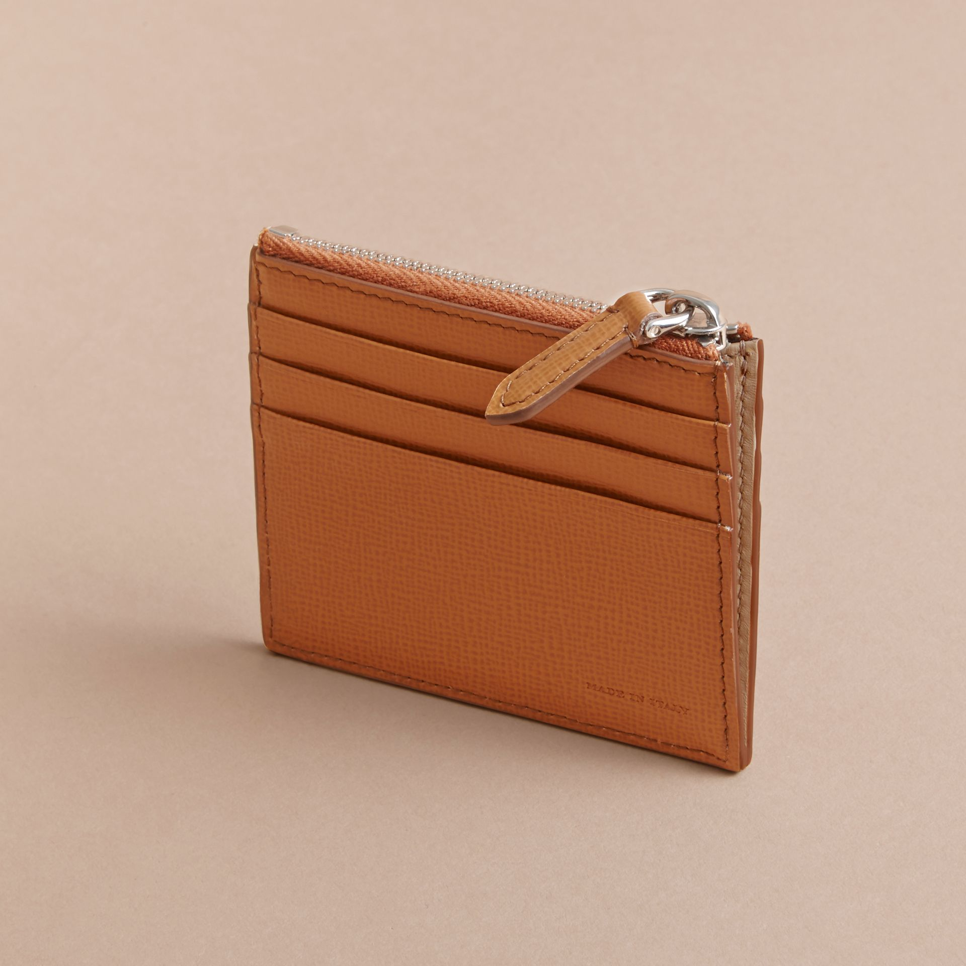 London Leather Zip-top Card Case in Tan | Burberry - gallery image 3