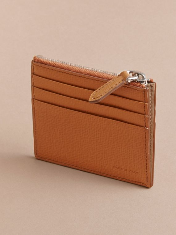 London Leather Zip-top Card Case in Tan | Burberry Canada - cell image 2