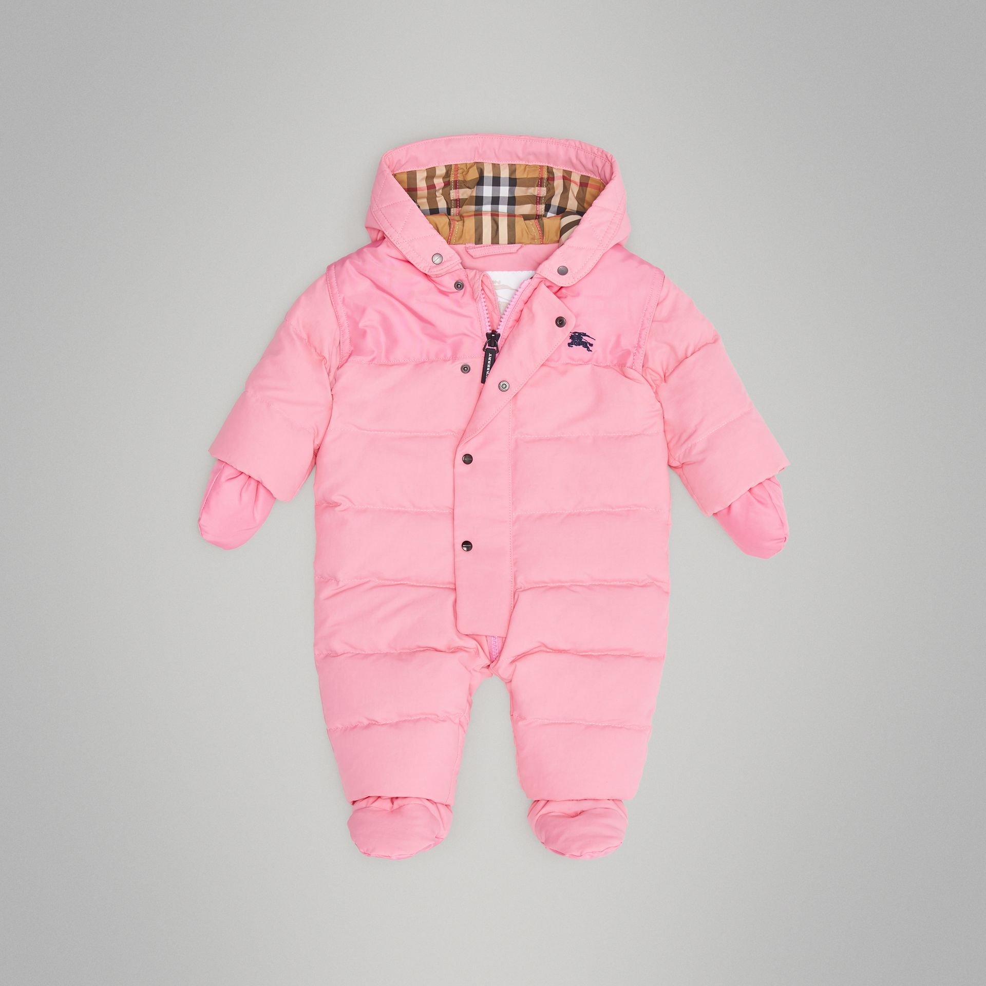 Down-filled Puffer Suit in Ice Pink - Children | Burberry - gallery image 2