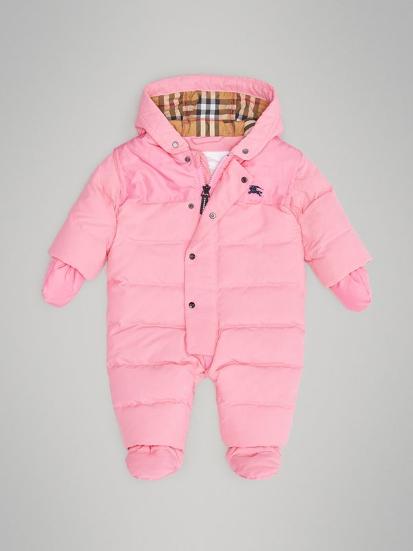 Down-filled Puffer Suit in Ice Pink - Children | Burberry Australia - cell image 2