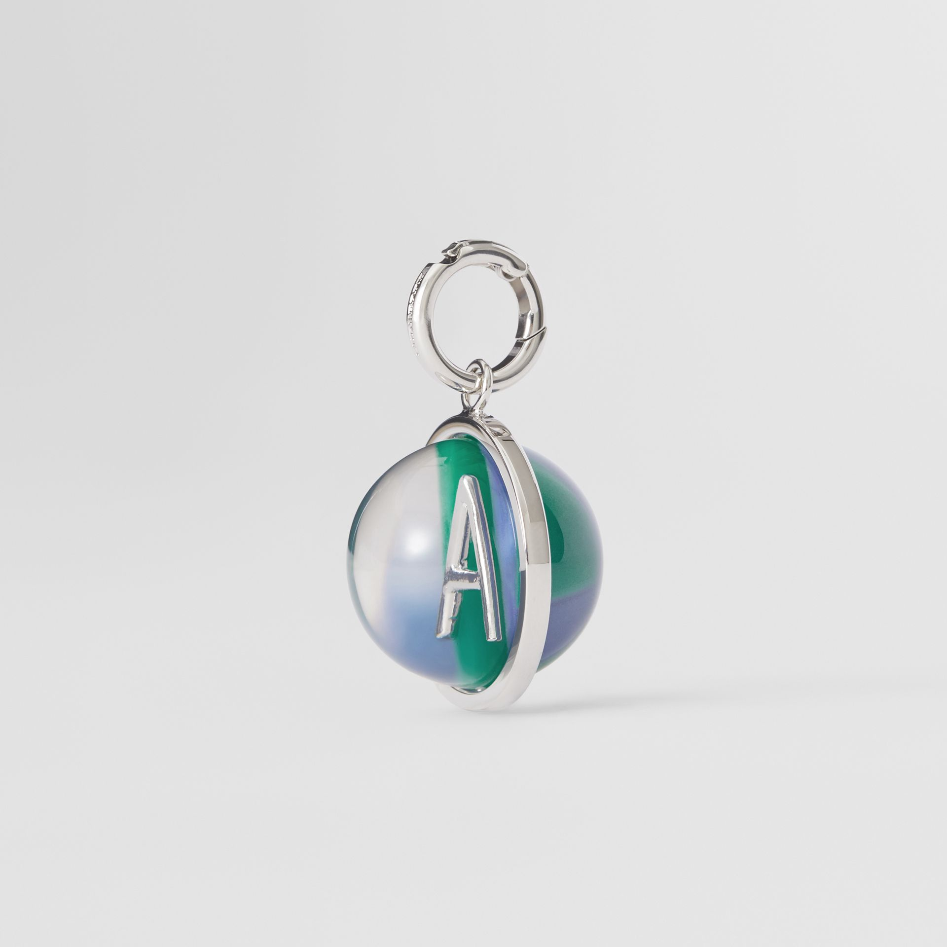 Marbled Resin 'A' Alphabet Charm in Palladio/ocean Blue - Women | Burberry Australia - gallery image 4