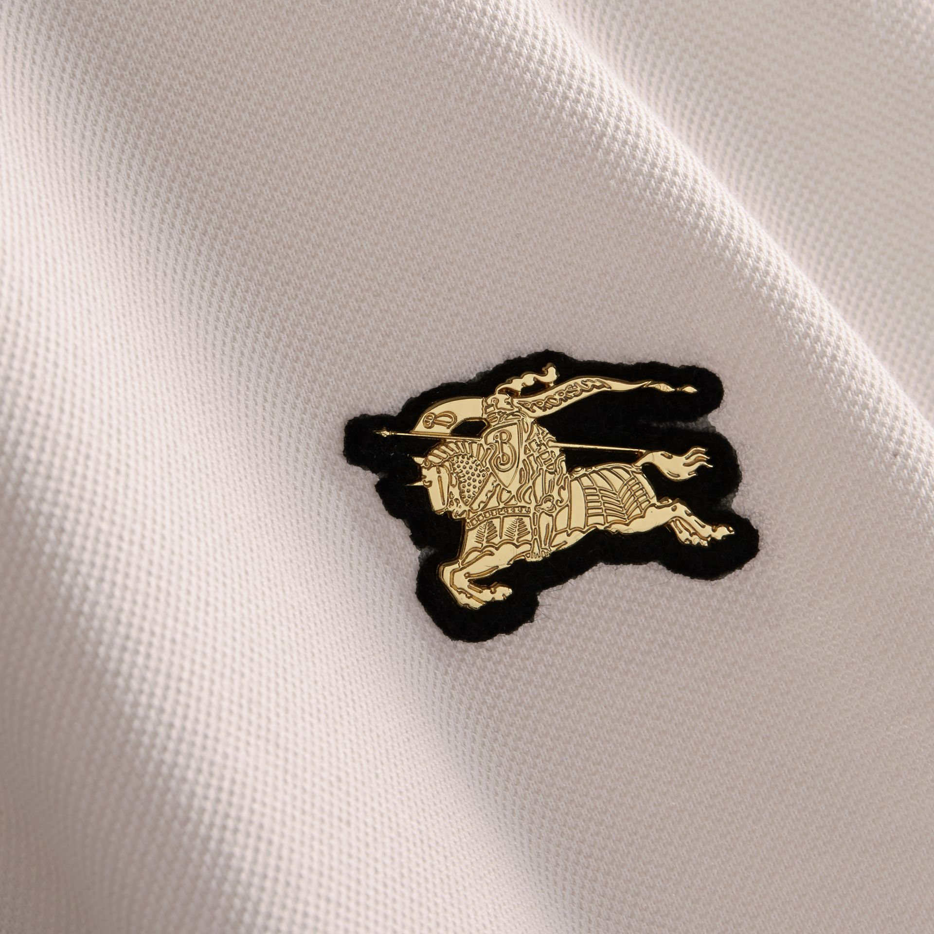 Fitted Mercerised Cotton-Piqué Polo Shirt Pale Stone - gallery image 2