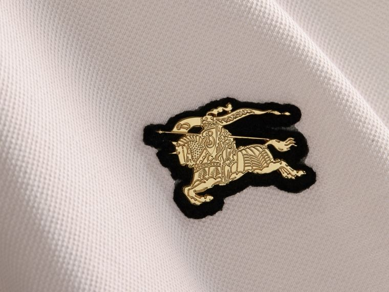 Fitted Mercerised Cotton-Piqué Polo Shirt Pale Stone - cell image 1