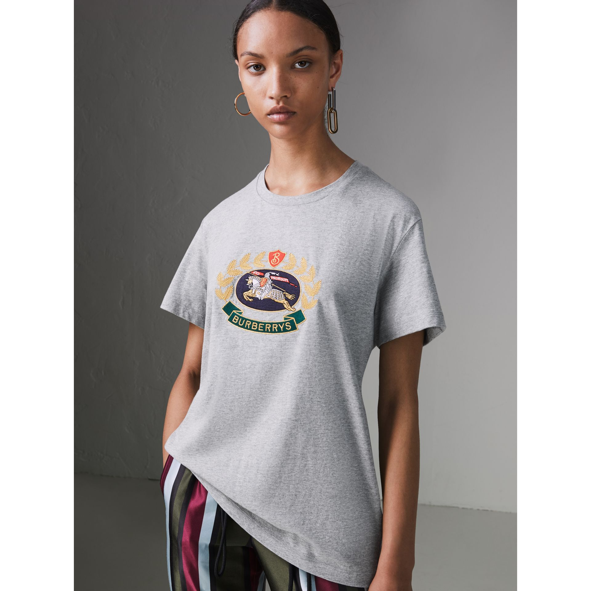 Embroidered Archive Logo Cotton T-shirt in Pale Grey Melange - Women | Burberry United Kingdom - gallery image 4