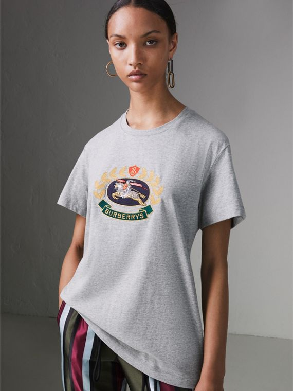 Embroidered Archive Logo Cotton T-shirt in Pale Grey Melange