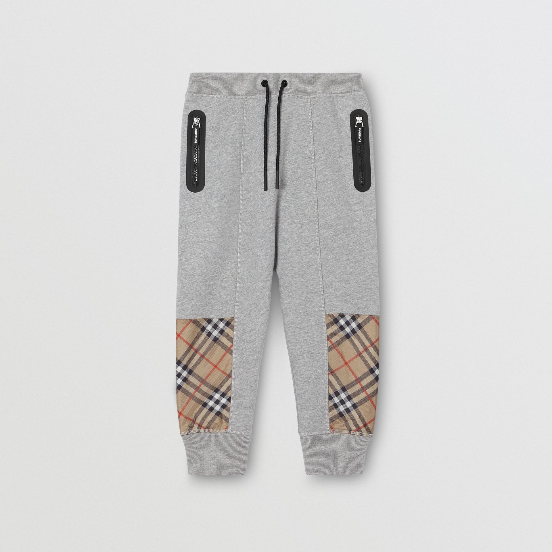 Vintage Check Panel Cotton Trackpants in Grey Melange | Burberry - gallery image 0