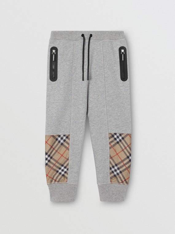 Pantalon de survêtement en coton avec Vintage check (Camaïeu  Gris)