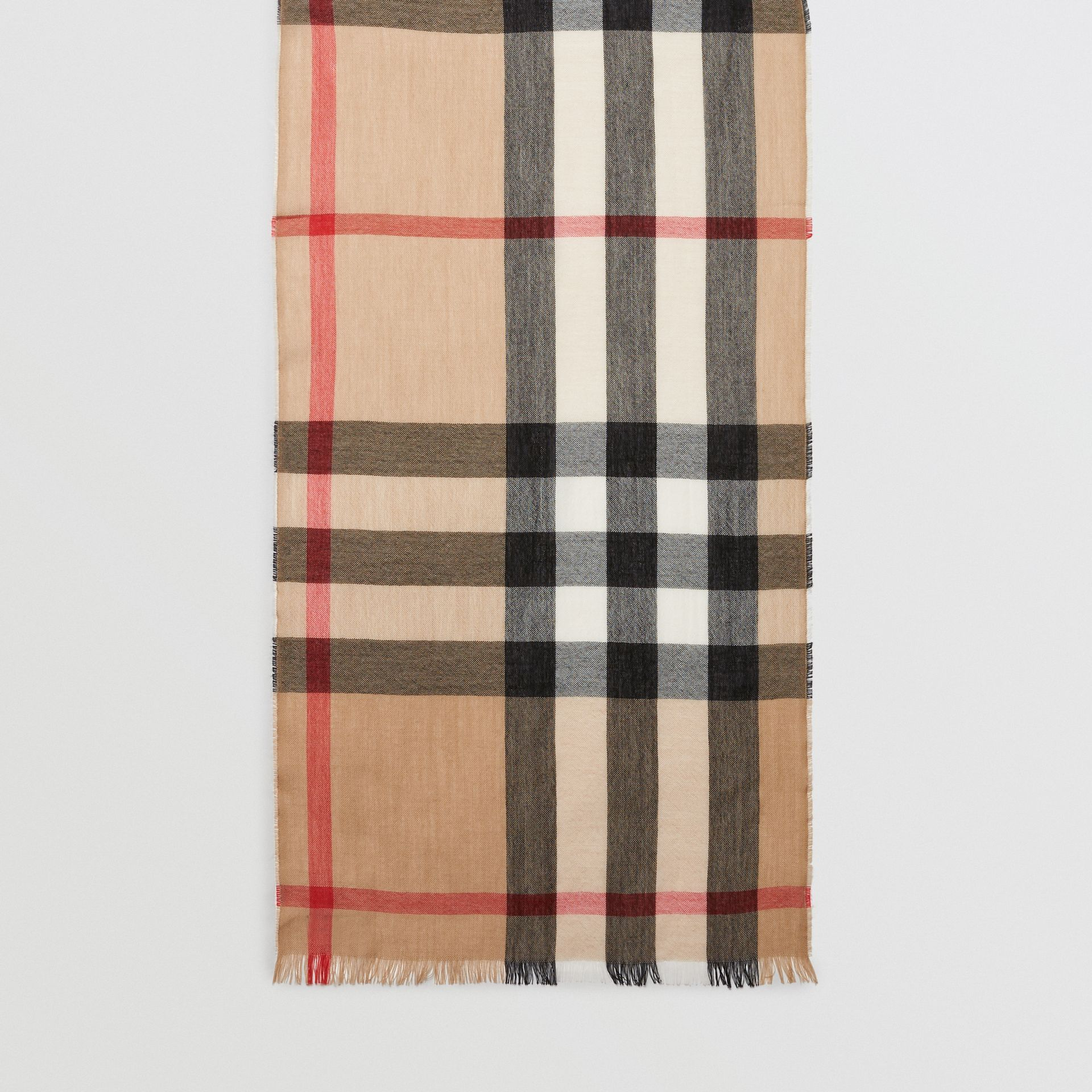 Lightweight Check Wool Cashmere Scarf in Camel | Burberry - gallery image 6