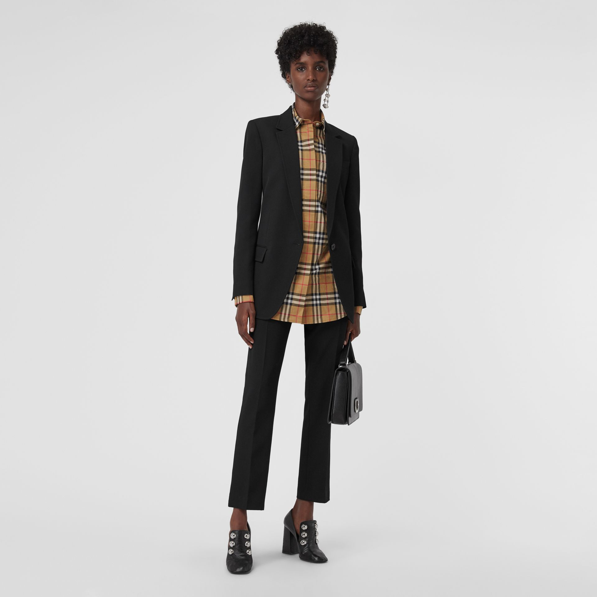 Straight Fit Wool Tailored Trousers in Black - Women | Burberry - gallery image 0